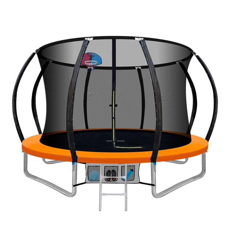 Everfit 10FT Trampoline Round Trampolines With Basketball Hoop Kids Present Gift Enclosure Safety Net Pad Outdoor Orange $401.80 RRP $1,174.75 (SAVE 66%)