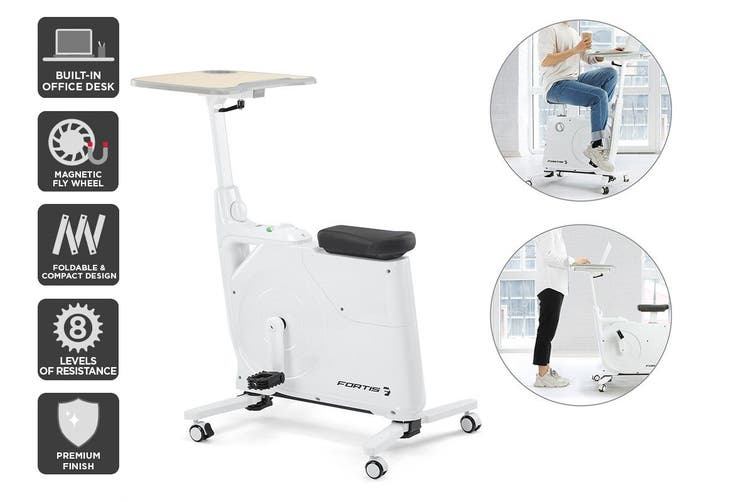 Fortis Home & Office Exercise Bike with Height Adjustable Desk (White) $199.99 was $299.99 (Save 33%)