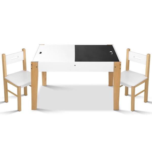 Artiss Kids Table and Chair Storage Desk – White & Natural $132.72 was $227.52