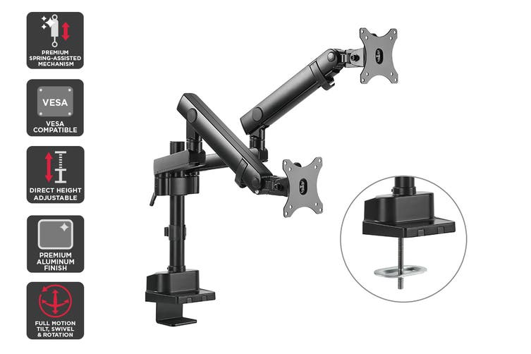 Kogan Full Motion Spring-Assisted Height Adjustable Dual Monitor Mount Pro (Ostia Series – Black) $74.99 You Save $105.00 was $179.99 (58%)