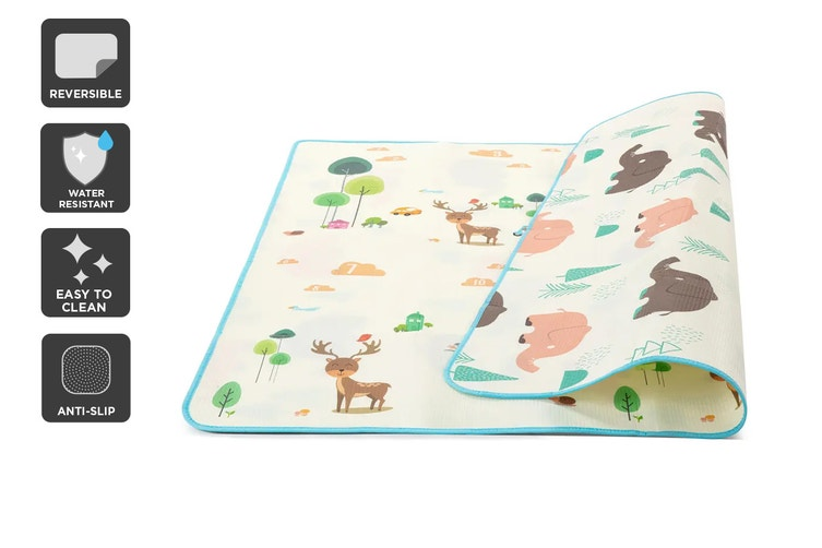 Reversible 2m x 1.8m Baby Floor Play Mat – Animals $29.99 was $59.99 (Save 50%)