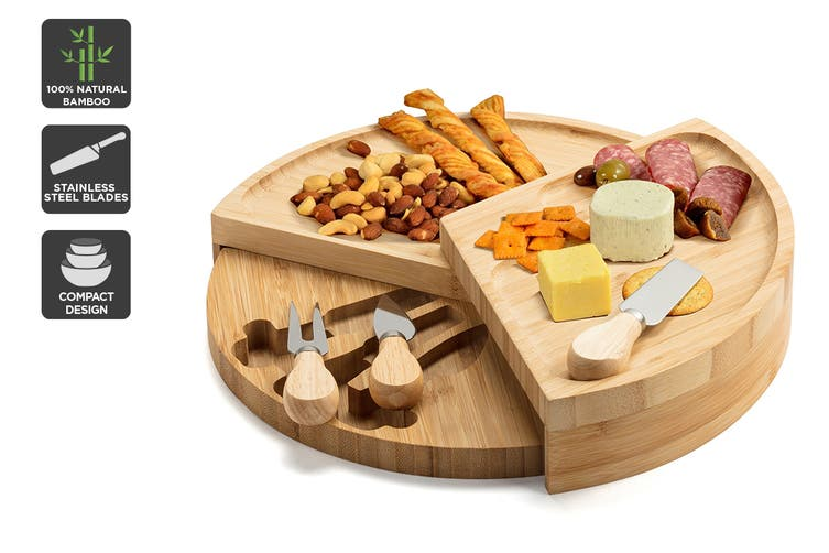 Ovela Round Bamboo Cheese Board Set $34.99 was $69.99 (Save 50%)