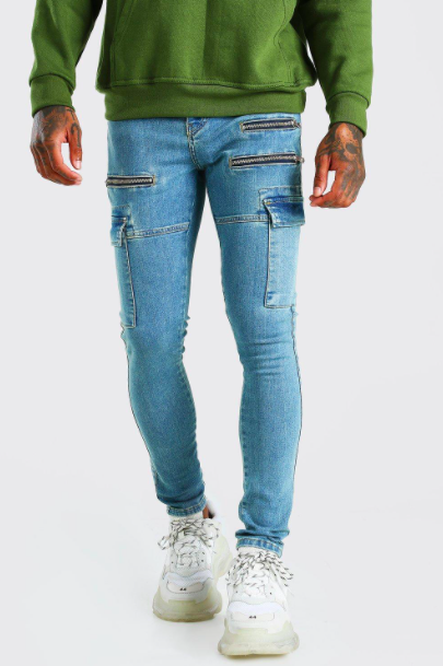 Super Skinny Stretch Cargo Jean With Zips $31.50 was $63.00 (50% OFF)