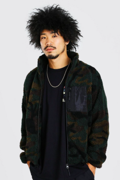 Funnel neck Camo Borg Jacket with Contrast Pocket $39.50 was $79.00 (50% OFF)