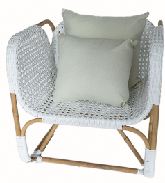 Hand-Woven Bamboo Cane and Synthetic Rattan Armchair With x 2 Cushions $280.17 was $849.00