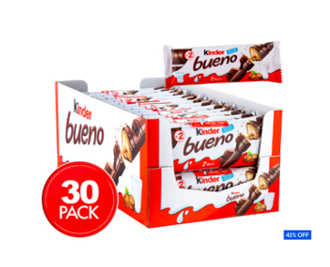 30 x Kinder Bueno Banded Chocolate Bars 43g $35 (Don't pay $60)