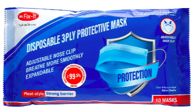 Disposable 3 Ply Protective Face Mask – 10 Pack $11.25 Was $15