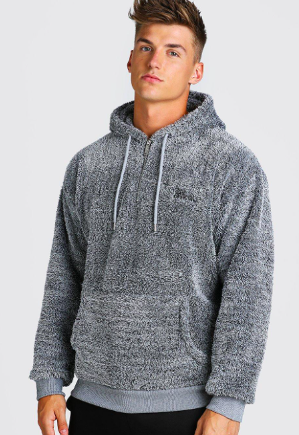 Oversized MAN Official 1/4 Zip Borg Hoodie $28.50 was $57.00