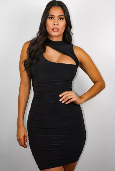 black slinky high neck ruched cut out mini dress $31.99 was $63.99