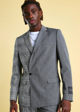 MAN Skinny Check Spliced Double Breasted Suit Jacket $69.00 was $138.00
