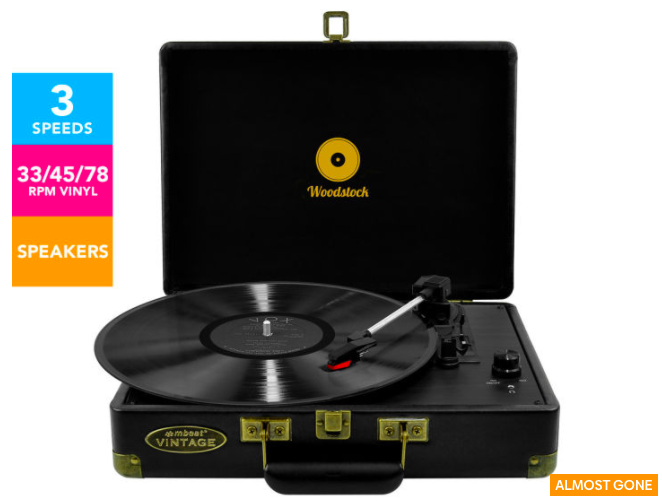 mbeat Woodstock Retro Turntable Player – Black $116.90 (Don't pay $169.95)