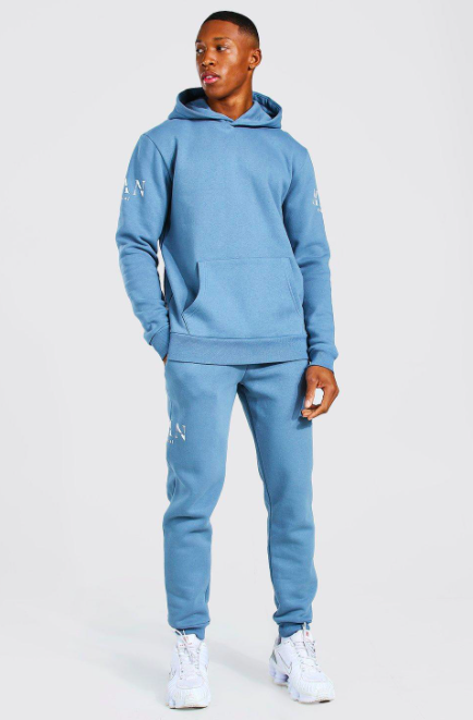 Man Roman Sleeve Print Hooded Tracksuit $45.00 was $90.00
