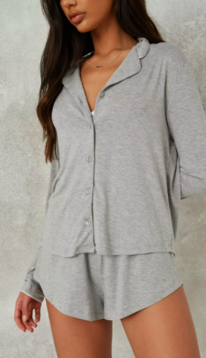 grey soft touch long sleeve top and shorts pyjama set $29.99 was $58.99