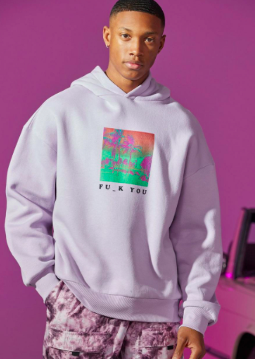 Oversized Fu_k Front And Back Print Hoodie $28.50 was $57.00