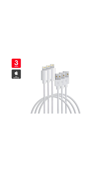 3 Pack Apple MFI Certified Lightning to USB Cable (1m) $39.99 (Don't Pay $90)
