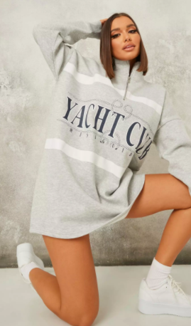 grey brushed back yacht club zip sweater dress $29.99 was $58.99