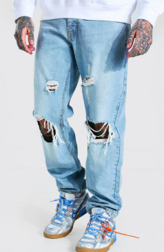 Relaxed Fit Distressed Jean With Busted Knee $25.00 was $50.00