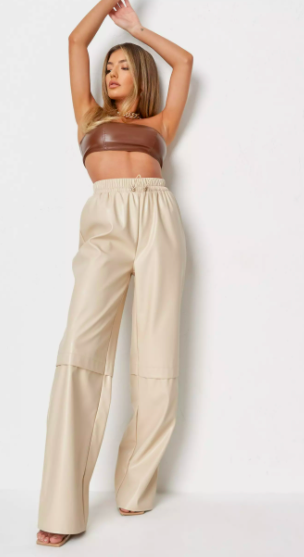 stone co ord faux leather wide leg drawstring trousers $45.99 was $91.99