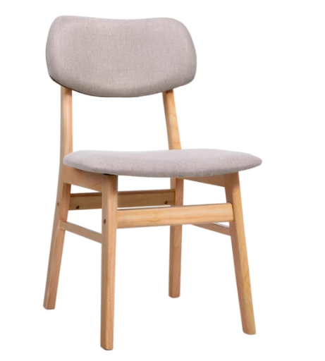 Artiss Dining Chairs Retro Replica Kitchen Cafe Wood Chair Fabric Pad Beige x2 $134.40 was $230.40