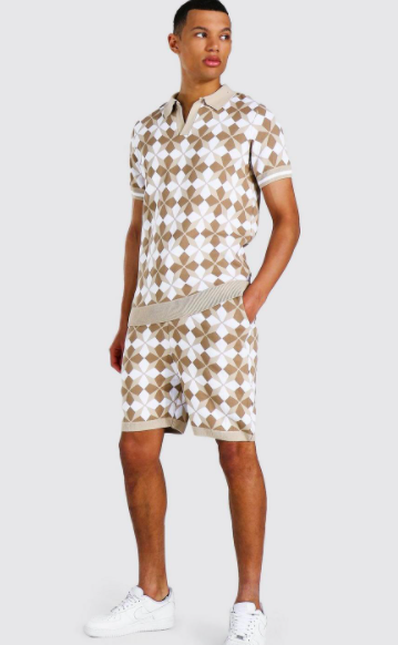 Tall Knitted Revere Printed Polo & Short Set $36.00 was $72.00