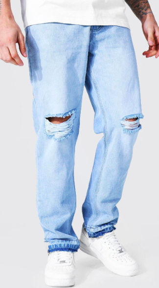 Straight Leg Busted Knee Let Down Hem Jean $28.50 was $57.00