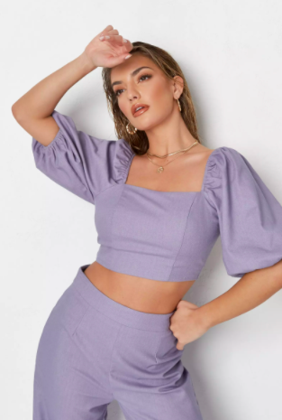 lilac co ord linen mix tie back crop top $30.99 was $61.99