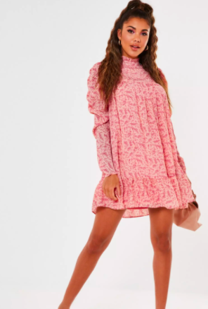 pink ditsy floral high neck puff sleeve smock dress $39.99 was $78.99