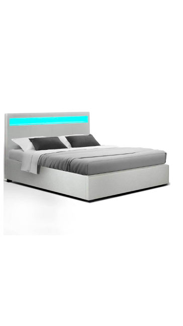 Cole LED Bed Frame PU Leather Gas Lift Storage – White Double $386.39 (RRP $599.95)