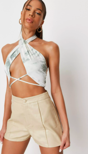ivory seam detail faux leather shorts $32.99 was $64.99