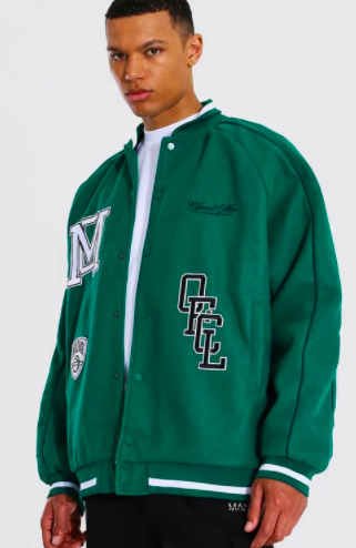 Tall Roll Collar Varsity Jacket With Piping $75.00 was $150.00