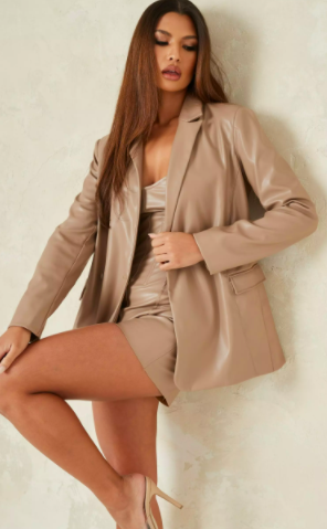 mauve co ord faux leather longline tailored blazer $71.99 was $140.99