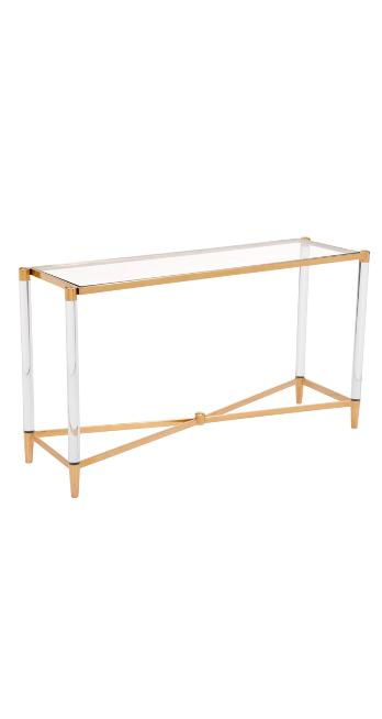 Acrylic Frame Existential Gold Console Table $449.10 was $998.00