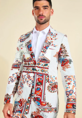 Skinny Single Breasted Paisley Suit Jacket $70 was $140