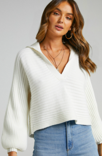 ELATA OVERSIZED COLLAR JUMPER WITH IN OFF WHITE $32 WAS $69.95