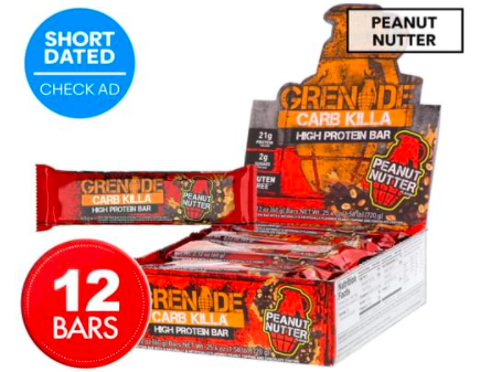 12 x Grenade Carb Killa High Protein Bars Peanut Nutter 60g $15 was $19.95 (24% OFF)