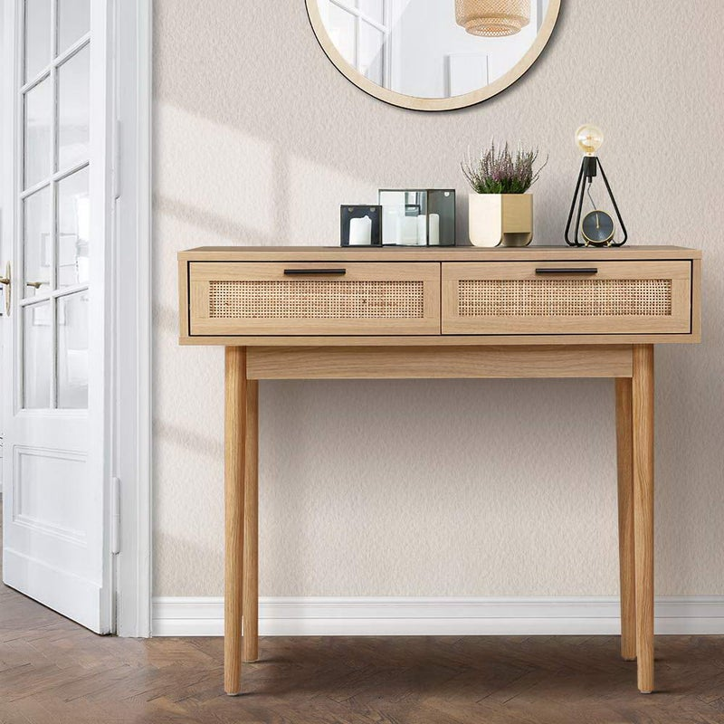 Artiss Rattan Console Table Drawer Storage Hallway Tables Drawers $113.95 RRP $579.90 (SAVE 80%)