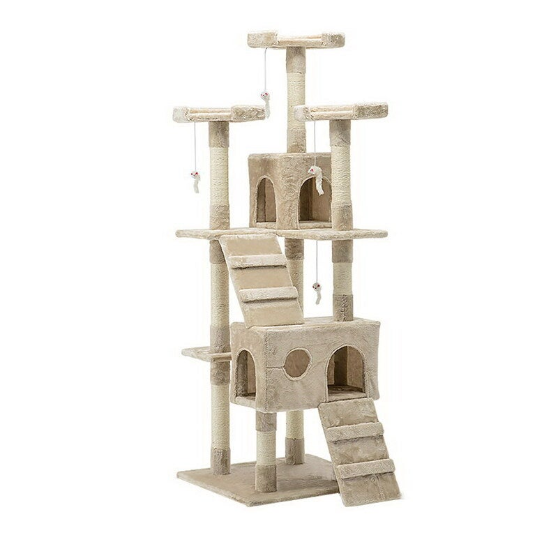 i.Pet Cat Tree 180cm Trees Scratching Post Scratcher Tower Condo House Furniture Wood Beige $80.95 RRP $206.95 (SAVE 61%)