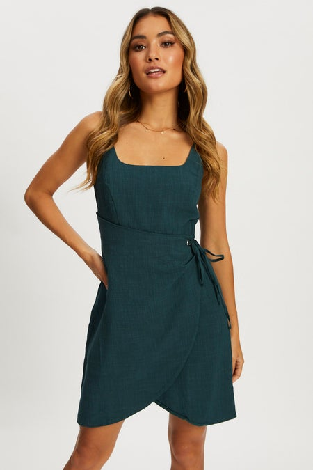 Eyelet Scoop Neck Wrap Dress $36.39 was $55.99