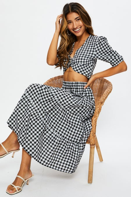 Gingham Maxi Skirt Set $35.94 was $55.29
