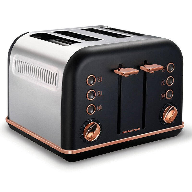 Morphy Richards 242107 Black Accents 4 Slice Toaster Rose Gold w/ Removable Tray $129 RRP $159.95 (SAVE 19%)