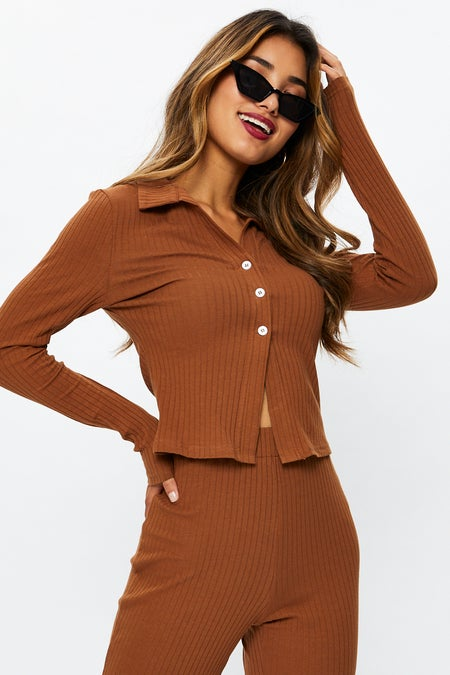 Rib Button Front Top $19.95 was $30.69