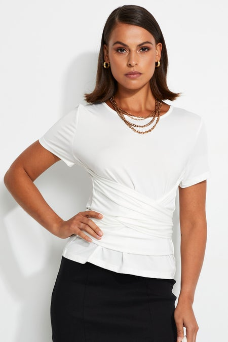 Short Sleeve Wrap Top $22.94 was $35.29