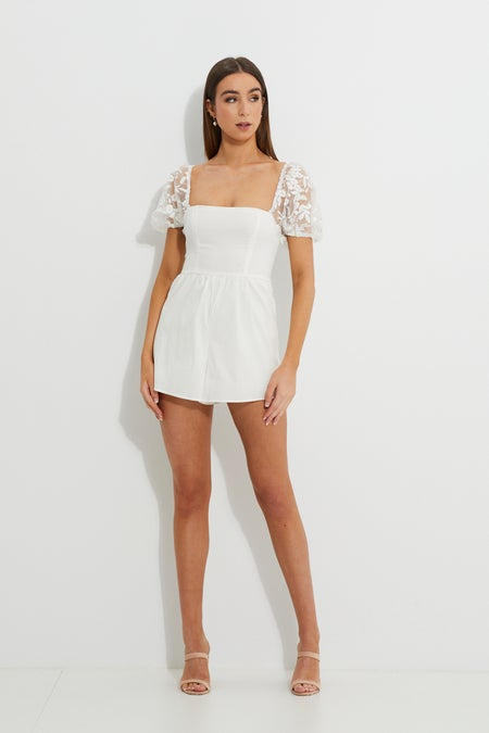 Designer Square Neck Organza Puff Sleeve Playsuit $24.99 was $75.99