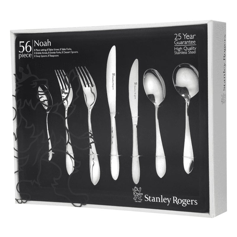STANLEY ROGERS 56 Piece Stainless Steel NOAH 56pc Cutlery Set $82 RRP $299 (SAVE 73%)