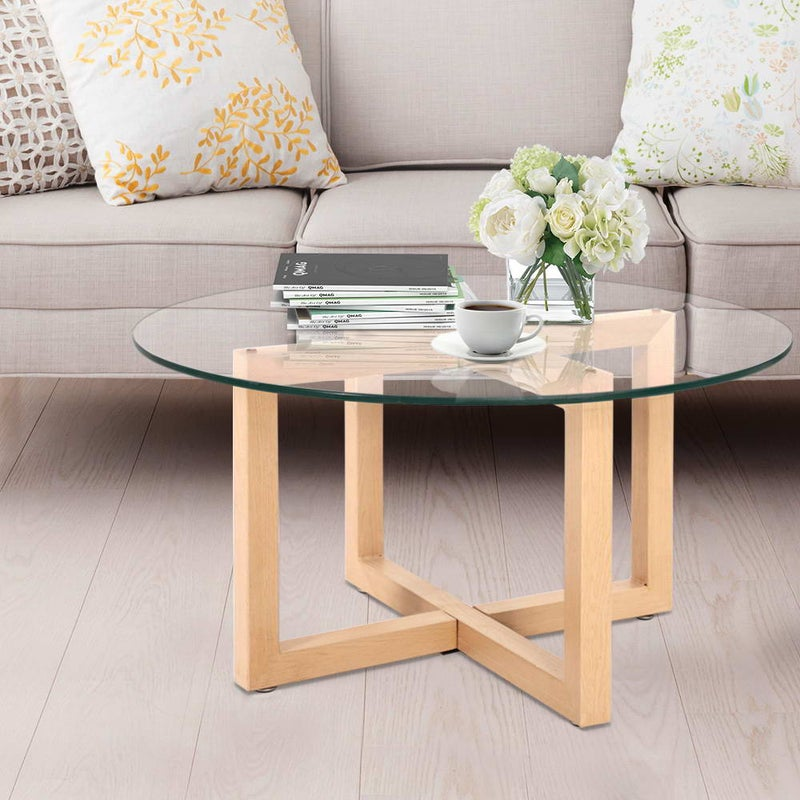 Tempered Glass Round Coffee Table – Beige $116.99 RRP $273.95 (SAVE 57%)