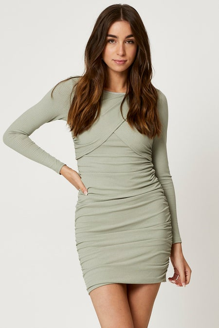 Wrap Front Ruched Ribbed Bodycon Mini Dress $31.99 was $39.99